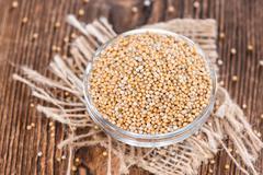 Portion of mustard seeds Stock Photos