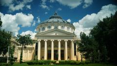 Romanian Athenaeum in Bucharest, Romania, time lapse - stock footage