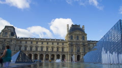 Low angle view of a fountain at Musee du Louvre, Paris Stock Footage