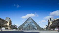 Time lapse of people walking past the glass pyramid at Musee du Louvre Stock Footage