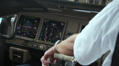 Cockpit of a Boeing 777 during flight Stock Footage