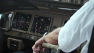 Stock Video Footage of Cockpit of a Boeing 777 during flight