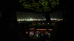 Airplane taking off at night. Unique view from the cockpit! Stock Footage