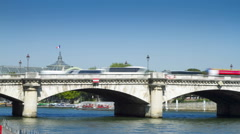 Bridge over the river Seine Stock Footage