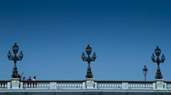 Lanterns on a bridge over the river Seine Stock Footage