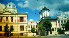 The Coltea hospital and his church, Bucharest, Roamania, time lapse,4k Stock Footage