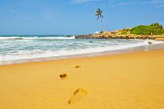 footprints on idyllic beach in sri lanka - stock photo