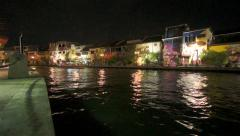 Melaka Canal with Boats, Night, time-lapse Stock Footage