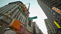 Astor Place intersection sign Broadway Lower Manhattan, New York City NYC Stock Footage
