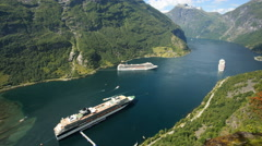 Beautiful 4K overhead timelapse at Geiranger Norway Stock Footage