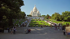 Low angle time lapse of people in front of the Sacre Coeur, Paris Stock Footage