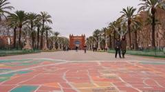Arc de Triomf in Barcelona Stock Footage