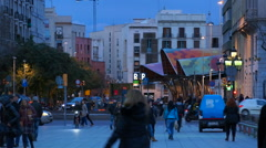 Night view of Barcelona Stock Footage