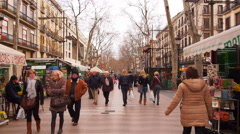 Stock Video Footage of La Rambla in Barcelona