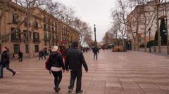La Rambla in Barcelona Stock Footage