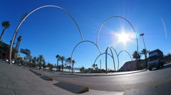 Modern Sculpture in Barcelona Stock Footage