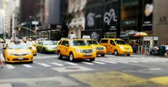4K New York Taxi Cabs at an Intersection Stock Footage