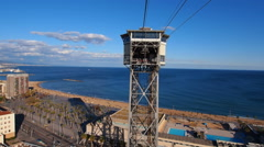 Port Vell Aerial Tramway in Barcelona Stock Footage
