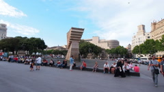 Catalonia Square in Barcelona Stock Footage