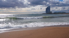 Barceloneta Beach in Barcelona Stock Footage