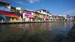 Melaka Canal and Colorful Houses, Malaysia Stock Footage