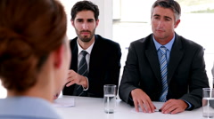 Interview panel speaking to applicant Stock Footage