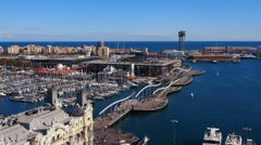 Port in Barcelona - stock footage