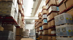 Movements in the storehouse, job behind the factory Stock Footage