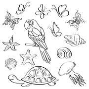 exotic fauna, outline, set - stock illustration