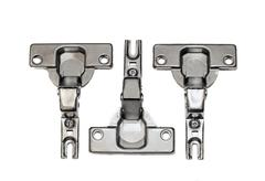 Furniture hardware - hinges on a white background Stock Photos