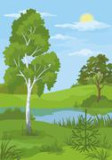 Summer landscape with trees and river Stock Illustration