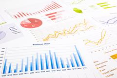 Colorful graphs, charts, marketing research and  business annual report backg Stock Photos