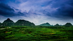 From sunset to night,the amazing landscape in Guizhou,China Stock Footage