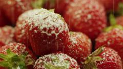Sprinkle Powder Sugar on Strawberries Stock Footage