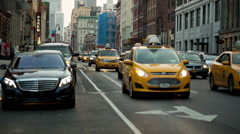 Taxi cabs and traffic in Lower Manhattan, New York Stock Footage