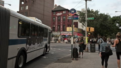 Cooper Square Sign and Bus in Lower Manhattan, New York - stock footage