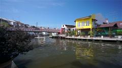 Melaka Canal with Boat , Malaysia Stock Footage