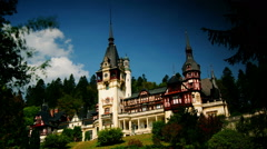 Peles royal castle in Sinaia, Romania.  time lapse view. Stock Footage