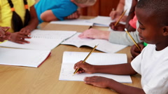 Pupils drawing in notepads during class Stock Footage
