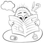 man reading a newspaper. caricature portrait - stock illustration