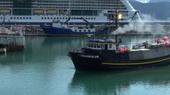 Alaskan crab fishing boat floating - Seward, Alaska Stock Footage