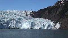 Glacier and a tourist boat - Kenai fjords, Alaska Stock Footage