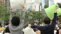 Flash mob pillow fight - stock footage
