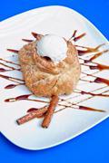 Apple strudel with ice cream Stock Photos