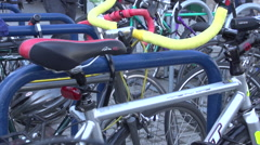 Portland Oregon B Roll - Pan of bikes and aerial tram Stock Footage