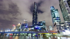 4k hyperlapse video of the skyscrapers in the Southbank precinct of Melbourne Stock Footage