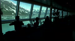 Sea view from cruise ship - snowy mountains landscape in Alaska Stock Footage