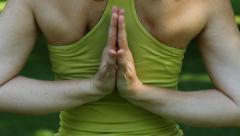 Yoga. Reverse prayer. Closeup. Stock Footage