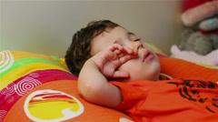 Cute little boy sleeping tight Stock Footage