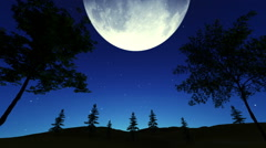 Giant full moon in the starry sky at night Stock Footage